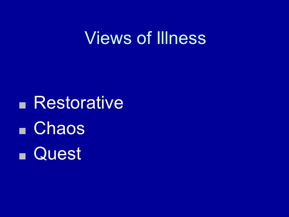 Views of Illness Restorative Chaos Quest