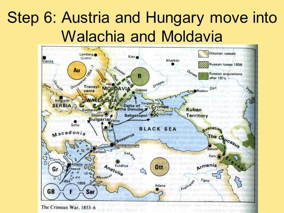 Step 6: Austria and Hungary move into Walachia and Moldavia