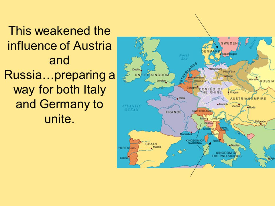 This weakened the influence of Austria and Russia…preparing a way for both Italy and Germany to unite.