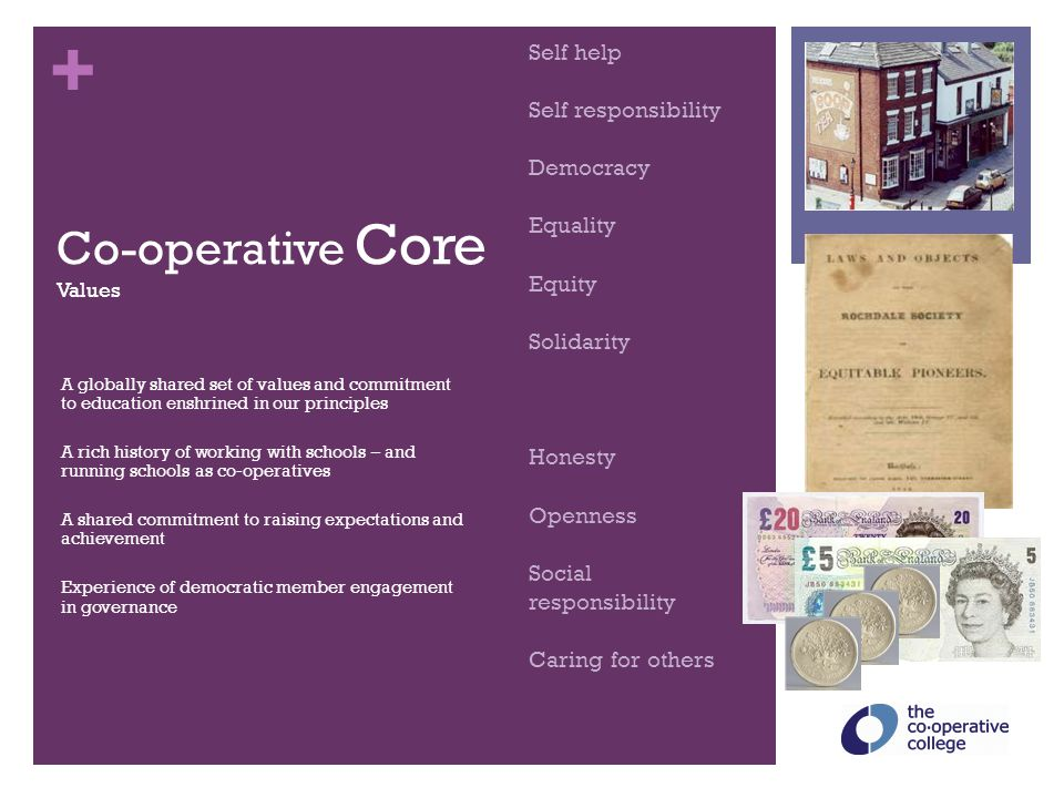 + Co-operative Core Values A globally shared set of values and commitment to education enshrined in our principles A rich history of working with scho