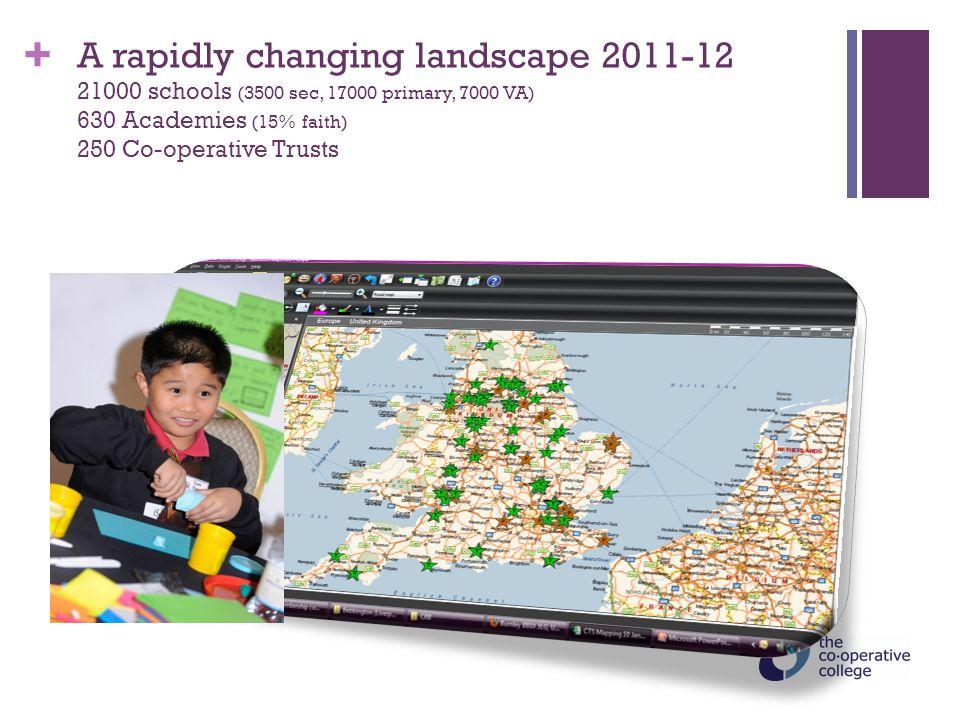 + A rapidly changing landscape 2011-12 21000 schools (3500 sec, 17000 primary, 7000 VA) 630 Academies (15% faith) 250 Co-operative Trusts