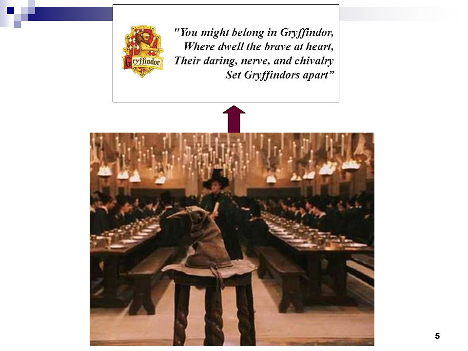 5 You might belong in Gryffindor, Where dwell the brave at heart, Their daring, nerve, and chivalry Set Gryffindors apart