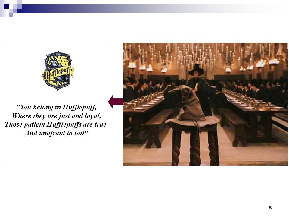 8 You belong in Hufflepuff, Where they are just and loyal, Those patient Hufflepuffs are true And unafraid to toil