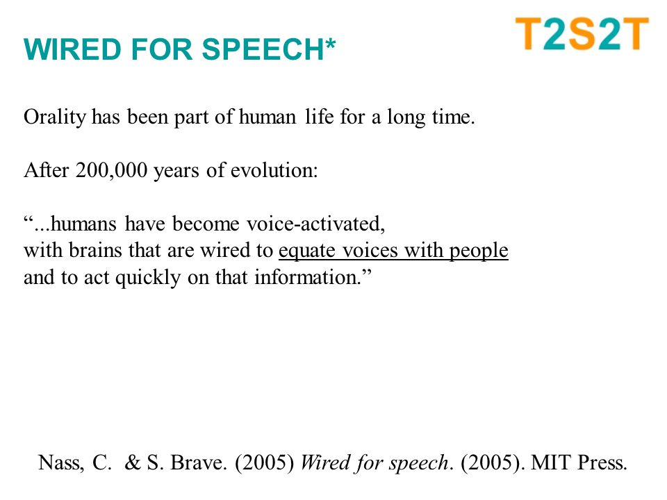 WIRED FOR SPEECH* Orality has been part of human life for a long time.