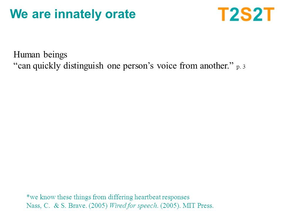 Human beings can quickly distinguish one person's voice from another. p.