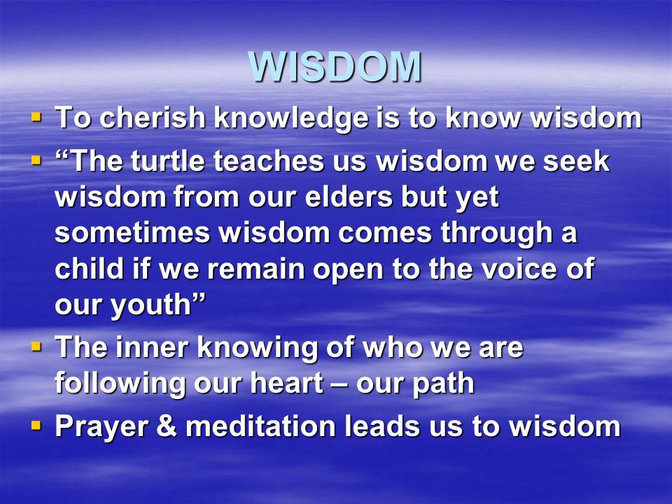 "WISDOM  To cherish knowledge is to know wisdom  ""The turtle teaches us wisdom we seek wisdom from our elders but yet sometimes wisdom comes through"