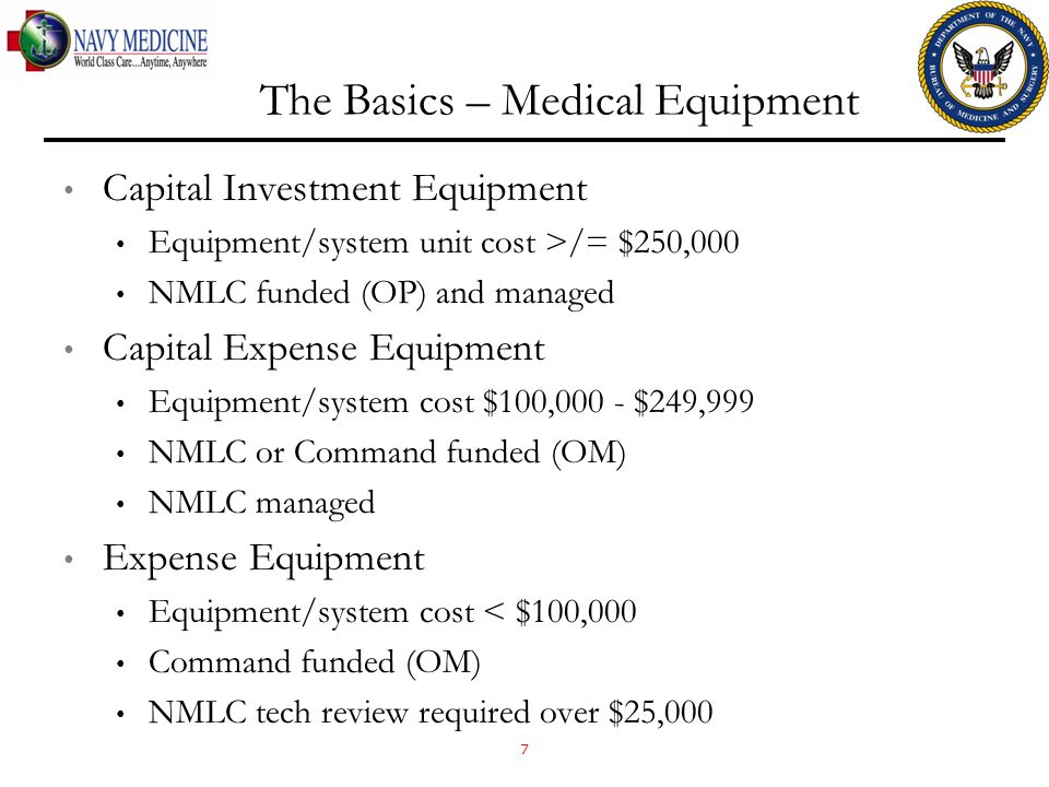 The Basics – Medical Equipment Capital Investment Equipment Equipment/system unit cost >/= $250,000 NMLC funded (OP) and managed Capital Expense Equipment Equipment/system cost $100,000 - $249,999 NMLC or Command funded (OM) NMLC managed Expense Equipment Equipment/system cost < $100,000 Command funded (OM) NMLC tech review required over $25,000 7