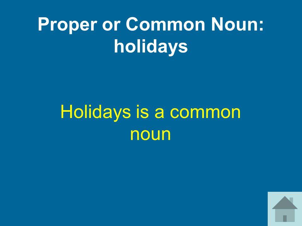 Proper or Common Noun: holidays Holidays is a common noun