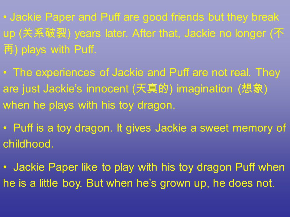 Look at the sentence a dragon lives forever but not so little boy .