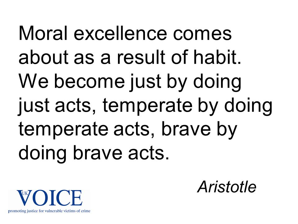 Moral excellence comes about as a result of habit. We become just by doing just acts, temperate by doing temperate acts, brave by doing brave acts. Ar
