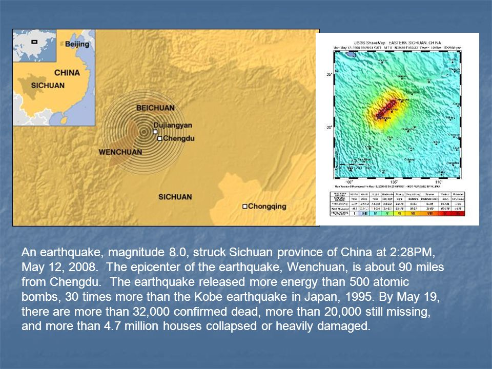 An earthquake, magnitude 8.0, struck Sichuan province of China at 2:28PM, May 12, 2008.