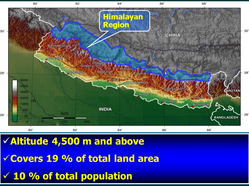 Altitude 4,500 m and above Covers 19 % of total land area 10 % of total population Himalayan Region