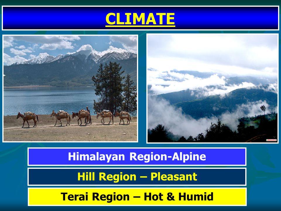 Terai Region – Hot & Humid Hill Region – Pleasant Himalayan Region-Alpine CLIMATE