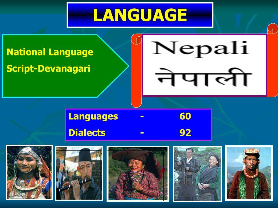 LANGUAGE Languages - 60 Dialects - 92 National Language Script-Devanagari