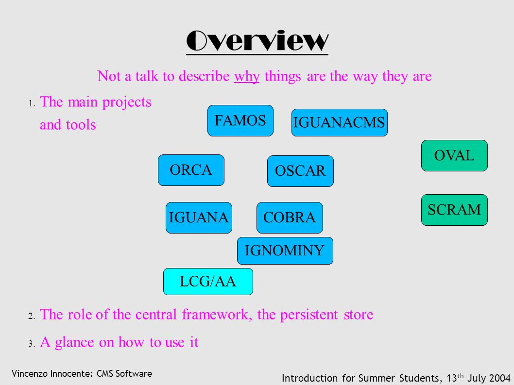Vincenzo Innocente: CMS Software Introduction for Summer Students, 13 th July 2004 Overview Not a talk to describe why things are the way they are 1.