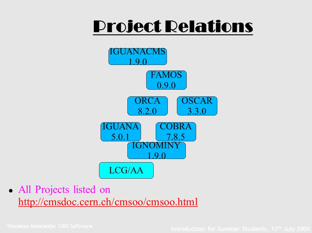 Vincenzo Innocente: CMS Software Introduction for Summer Students, 13 th July 2004 Project Relations ● All Projects listed on http://cmsdoc.cern.ch/cm