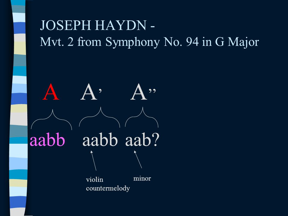 JOSEPH HAYDN - Mvt. 2 from Symphony No. 94 in G Major AA'A' A '' aabb aab? violin countermelody minor