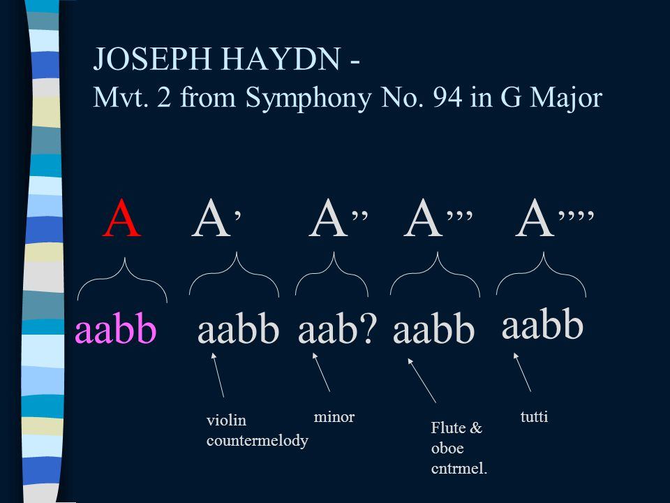 JOSEPH HAYDN - Mvt. 2 from Symphony No. 94 in G Major A A'A' A '' A ''' aabb A '''' aabbaab?aabb violin countermelody minortutti Flute & oboe cntrmel.