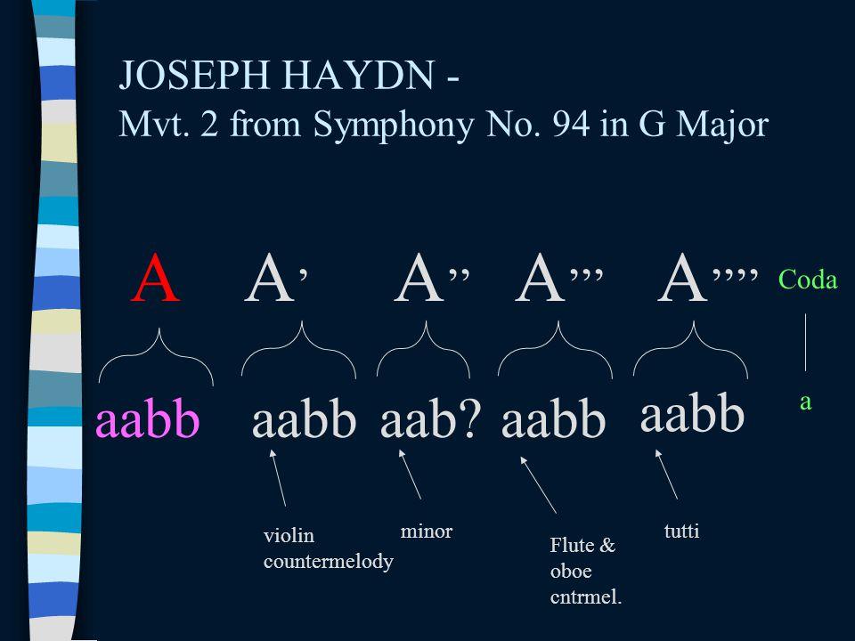 JOSEPH HAYDN - Mvt. 2 from Symphony No. 94 in G Major A A'A' A '' A ''' aabb A '''' aabbaab?aabb Coda a violin countermelody minortutti Flute & oboe c