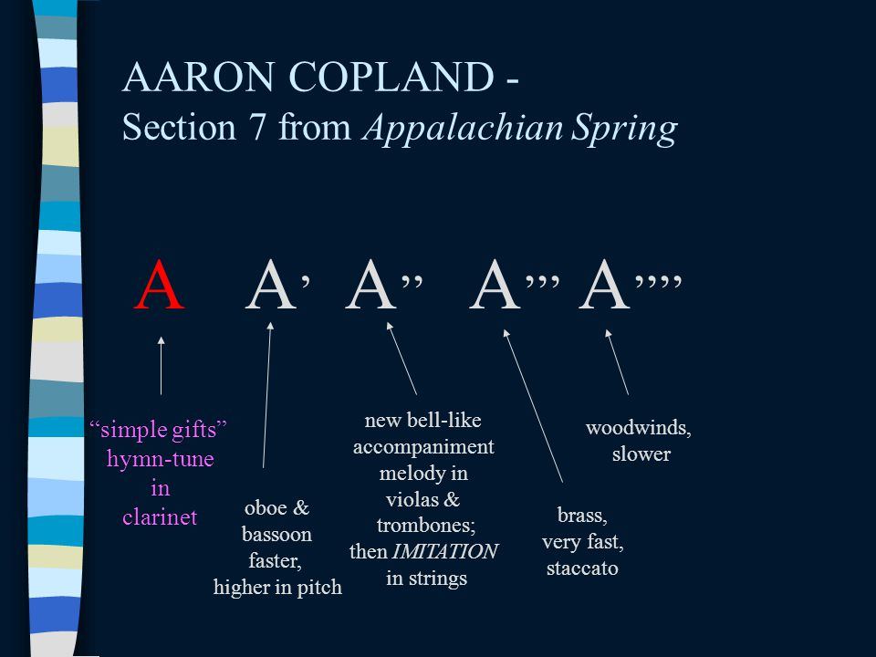 AARON COPLAND - Section 7 from Appalachian Spring A A'A' A '' A ''' simple gifts hymn-tune in clarinet A '''' oboe & bassoon faster, higher in pitch new bell-like accompaniment melody in violas & trombones; then IMITATION in strings brass, very fast, staccato woodwinds, slower