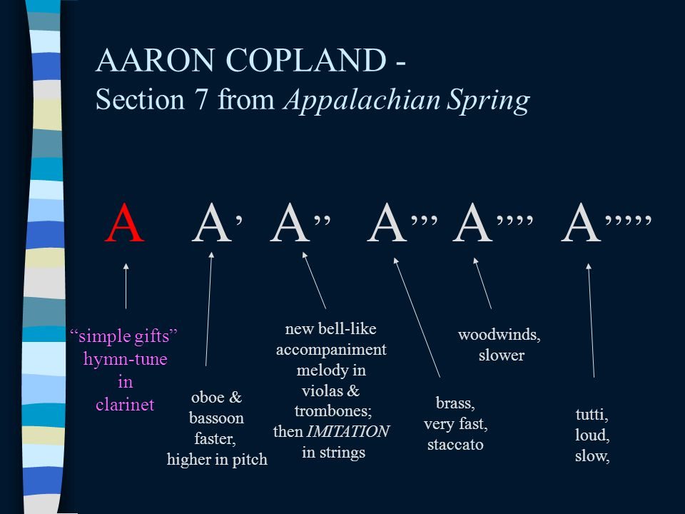 """AARON COPLAND - Section 7 from Appalachian Spring A A'A' A '' A ''' """"simple gifts"""" hymn-tune in clarinet A '''' oboe & bassoon faster, higher in pitch"""