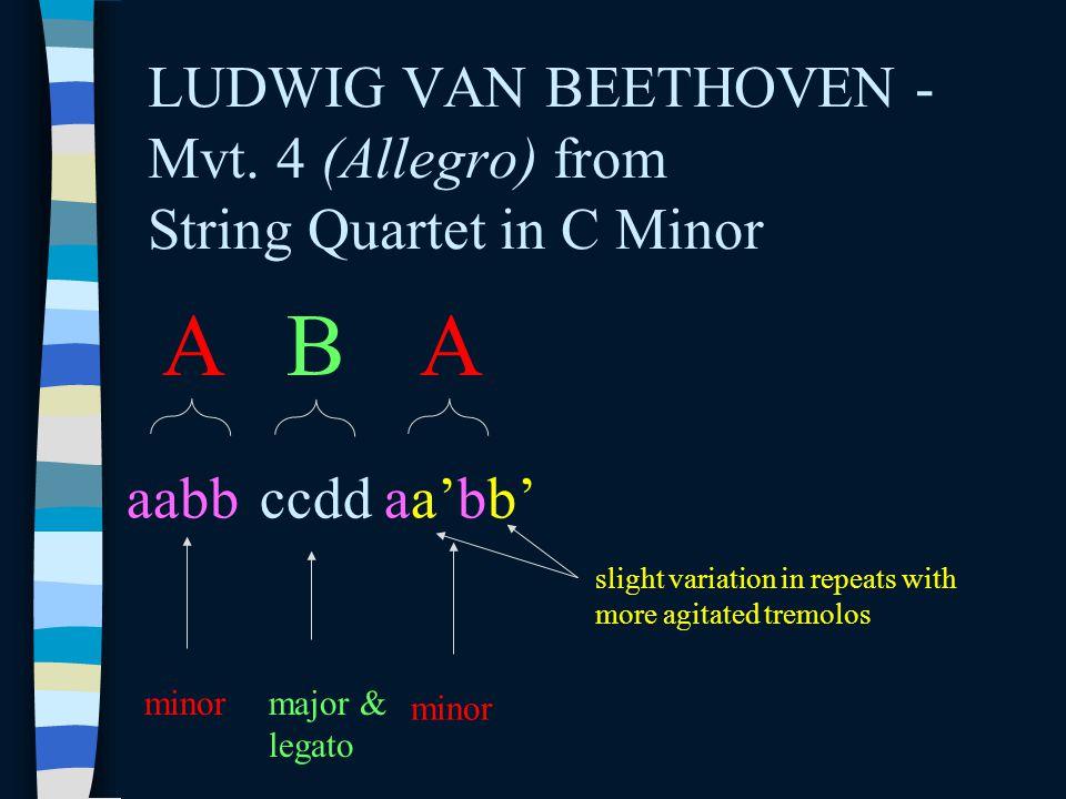 LUDWIG VAN BEETHOVEN - Mvt. 4 (Allegro) from String Quartet in C Minor A aabb B ccdd A aa'bb' minormajor & legato minor slight variation in repeats wi