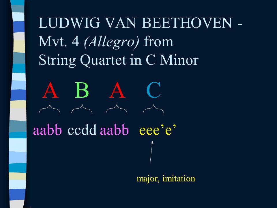 LUDWIG VAN BEETHOVEN - Mvt. 4 (Allegro) from String Quartet in C Minor A aabb B ccdd A aabb C eee'e' major, imitation