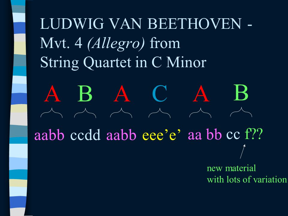 LUDWIG VAN BEETHOVEN - Mvt. 4 (Allegro) from String Quartet in C Minor A aabb B ccdd A aabb A C eee'e' B cc f?? new material with lots of variation