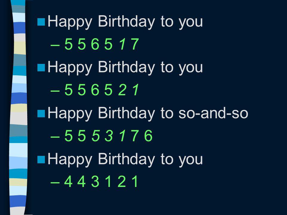 Happy Birthday to you – 5 5 6 5 1 7 Happy Birthday to you – 5 5 6 5 2 1 Happy Birthday to so-and-so – 5 5 5 3 1 7 6 Happy Birthday to you – 4 4 3 1 2