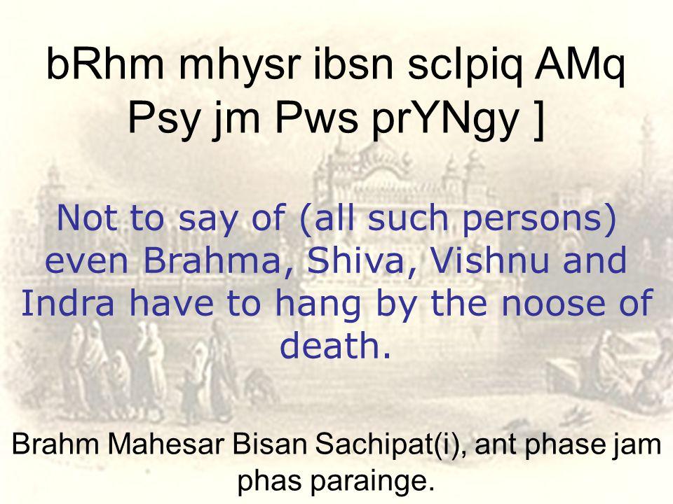 Brahm Mahesar Bisan Sachipat(i), ant phase jam phas parainge.