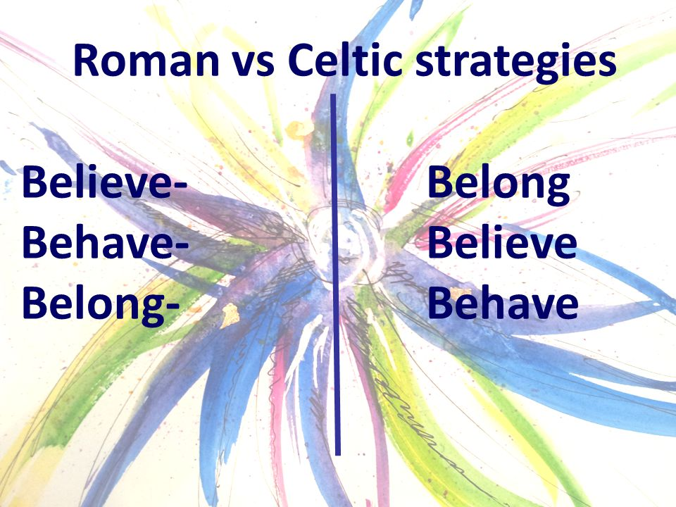 Roman vs Celtic strategies Believe-Belong Behave-Believe Belong-Behave