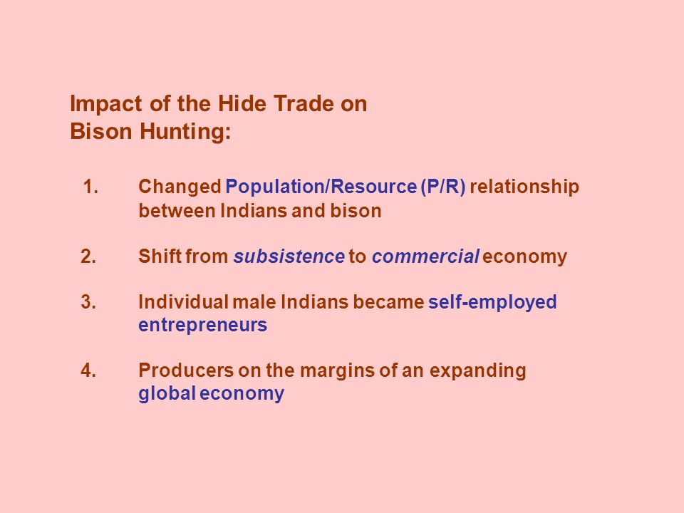 Impact of the Hide Trade on Bison Hunting: 1.Changed Population/Resource (P/R) relationship between Indians and bison 2.Shift from subsistence to commercial economy 3.Individual male Indians became self-employed entrepreneurs 4.Producers on the margins of an expanding global economy
