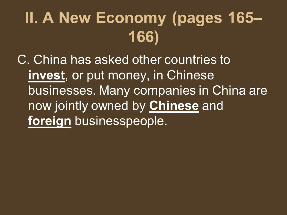 II. A New Economy (pages 165– 166) C.