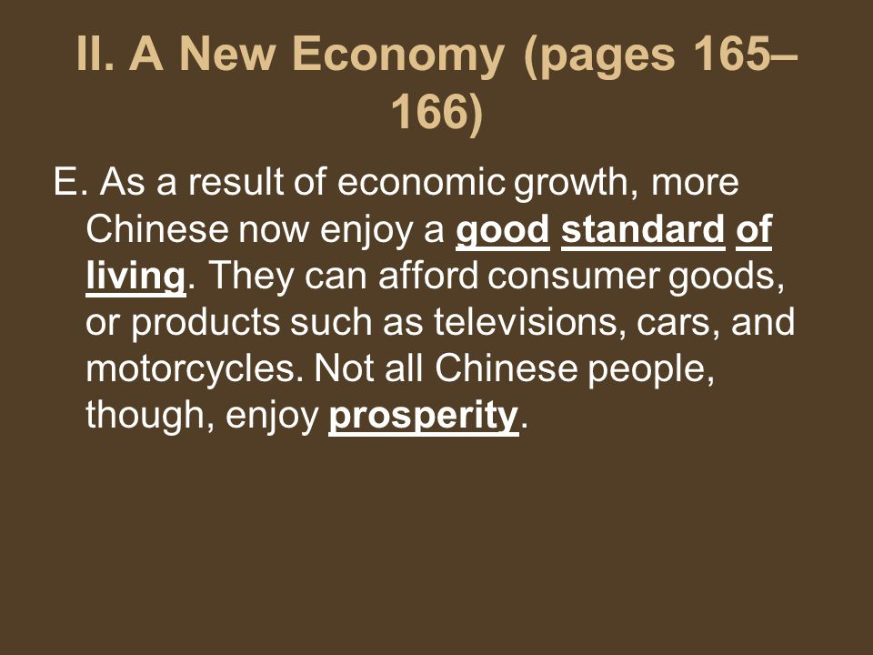 II. A New Economy (pages 165– 166) E.