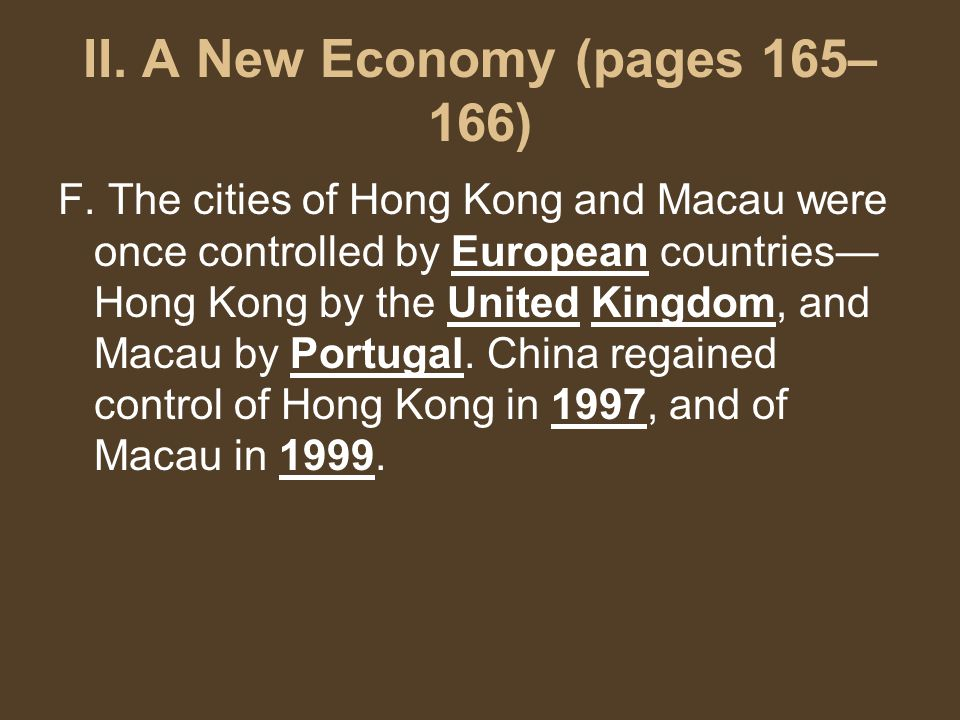II. A New Economy (pages 165– 166) F.
