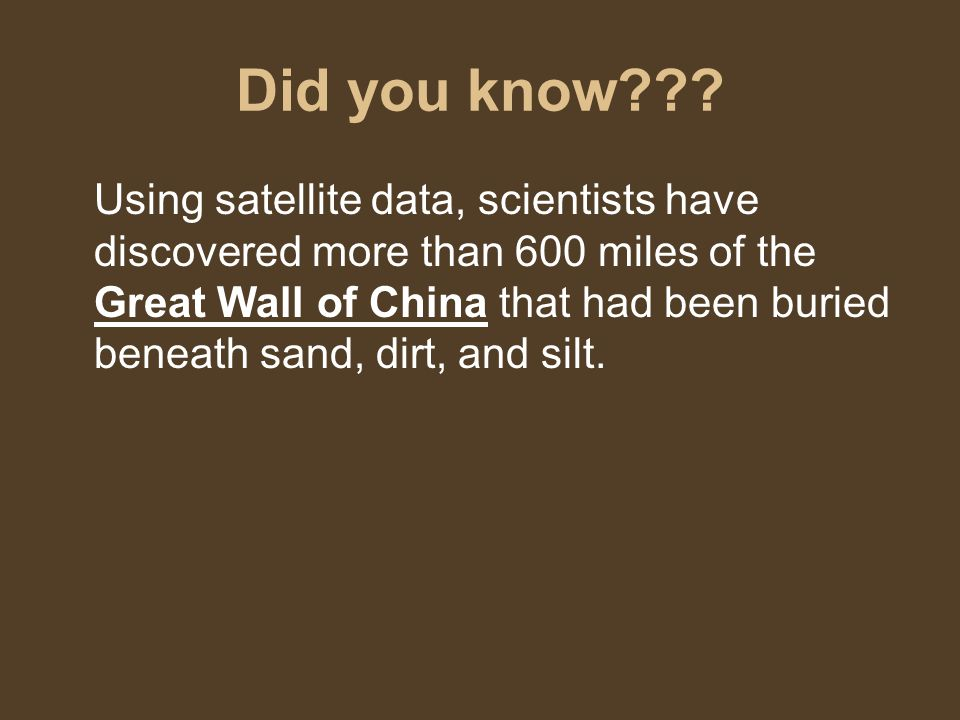 Did you know .