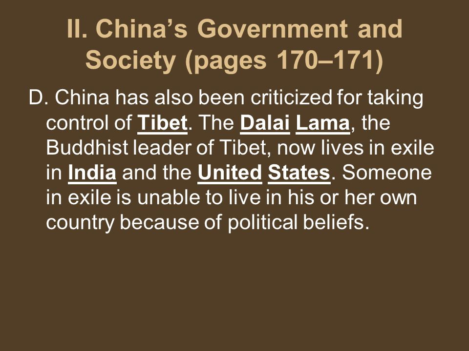 II. China's Government and Society (pages 170–171) D.