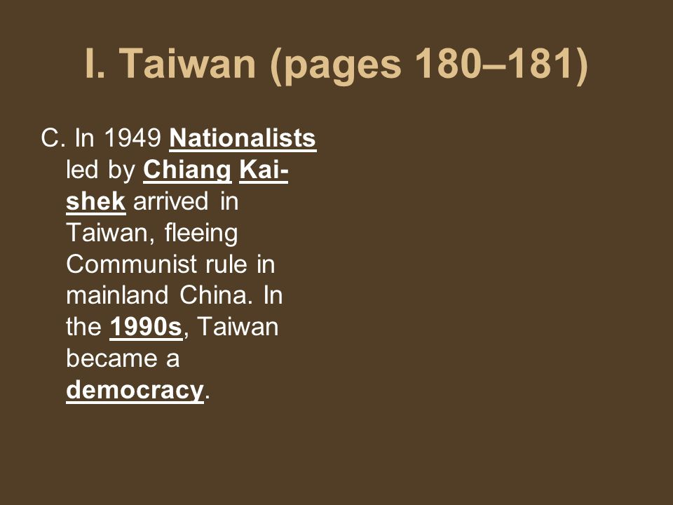 I. Taiwan (pages 180–181) C.