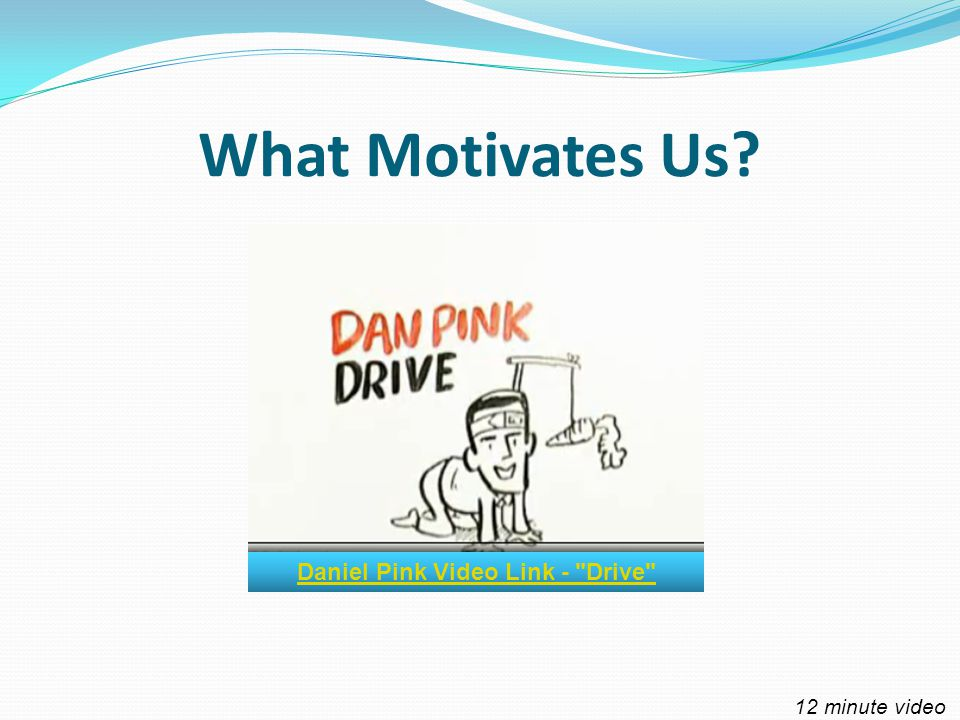 What Motivates Us Daniel Pink Video Link - Drive 12 minute video