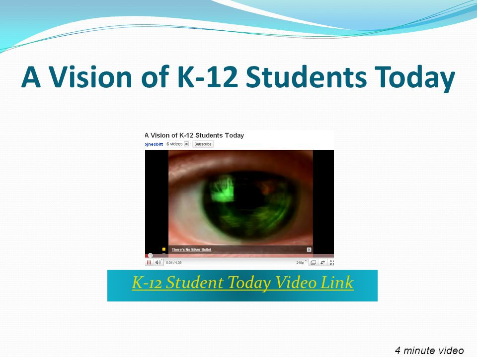 A Vision of K-12 Students Today K-12 Student Today Video Link 4 minute video