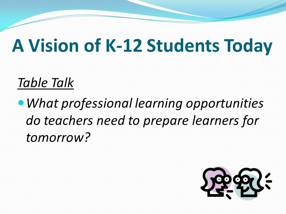 Table Talk What professional learning opportunities do teachers need to prepare learners for tomorrow.