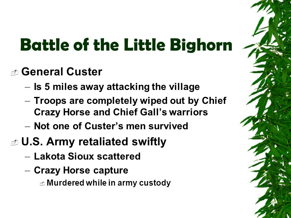 Battle of the Little Bighorn  General Custer –Is 5 miles away attacking the village –Troops are completely wiped out by Chief Crazy Horse and Chief G