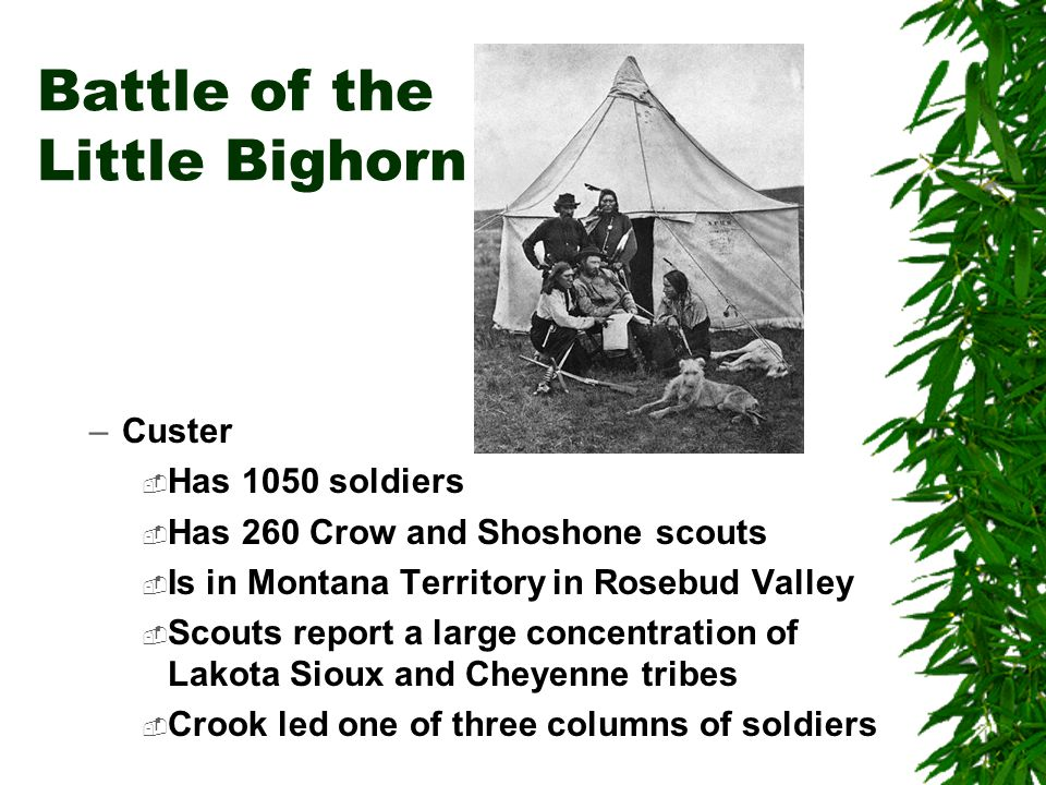 Battle of the Little Bighorn –Custer  Has 1050 soldiers  Has 260 Crow and Shoshone scouts  Is in Montana Territory in Rosebud Valley  Scouts repor
