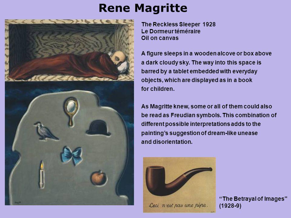Rene Magritte The Reckless Sleeper 1928 Le Dormeur téméraire Oil on canvas A figure sleeps in a wooden alcove or box above a dark cloudy sky.