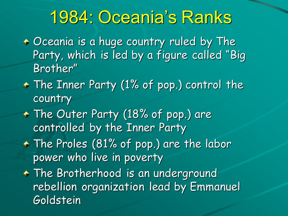 The Ministries of Oceania Oceania's four ministries are housed in huge pyramidal structures displaying the three slogans of the party on their sides.