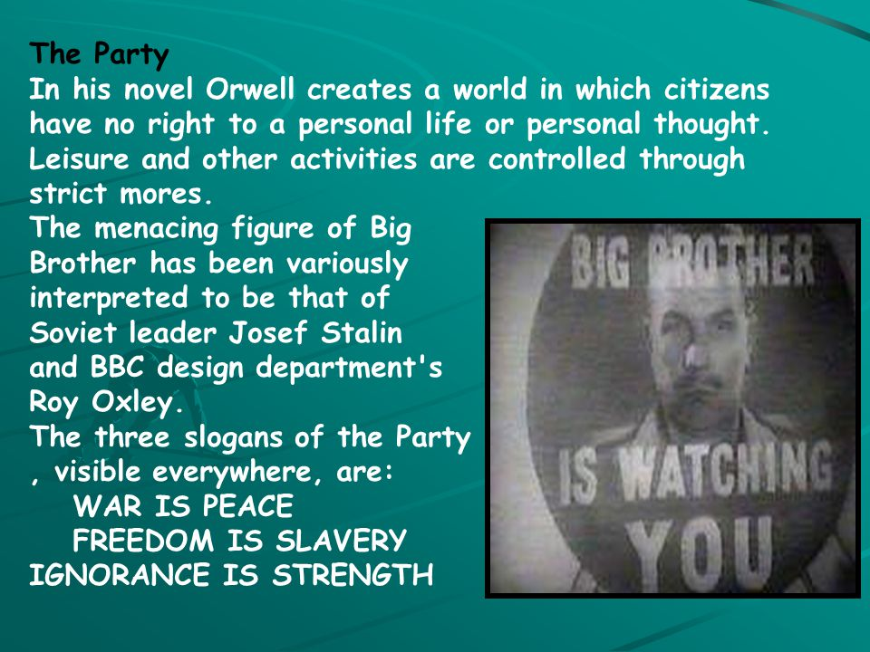 """1984: Oceania's Ranks Oceania is a huge country ruled by The Party, which is led by a figure called """"Big Brother"""" The Inner Party (1% of pop.) control"""