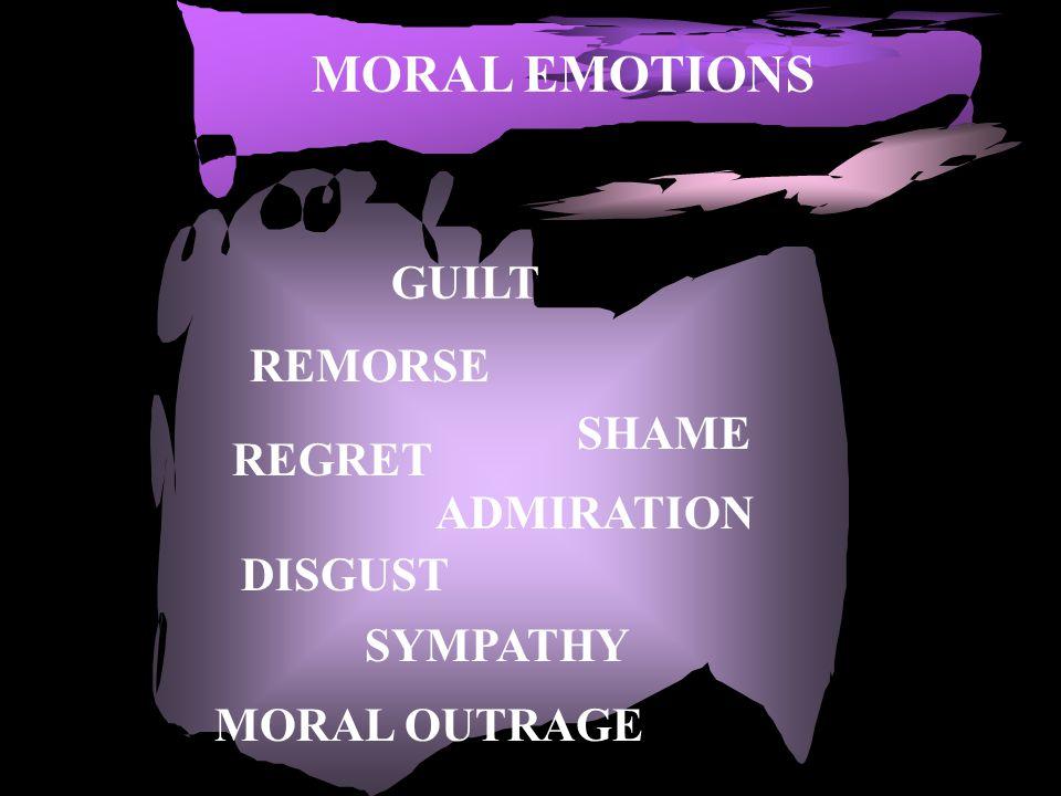 MORAL EMOTIONS GUILT SHAME REMORSE REGRET ADMIRATION DISGUST SYMPATHY MORAL OUTRAGE