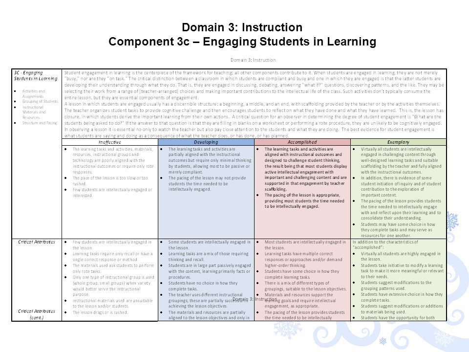 Domain 3: Instruction Component 3c – Engaging Students in Learning