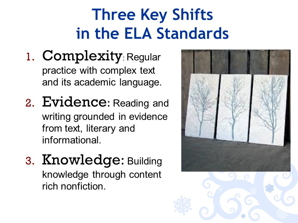 Three Key Shifts in the ELA Standards 1.