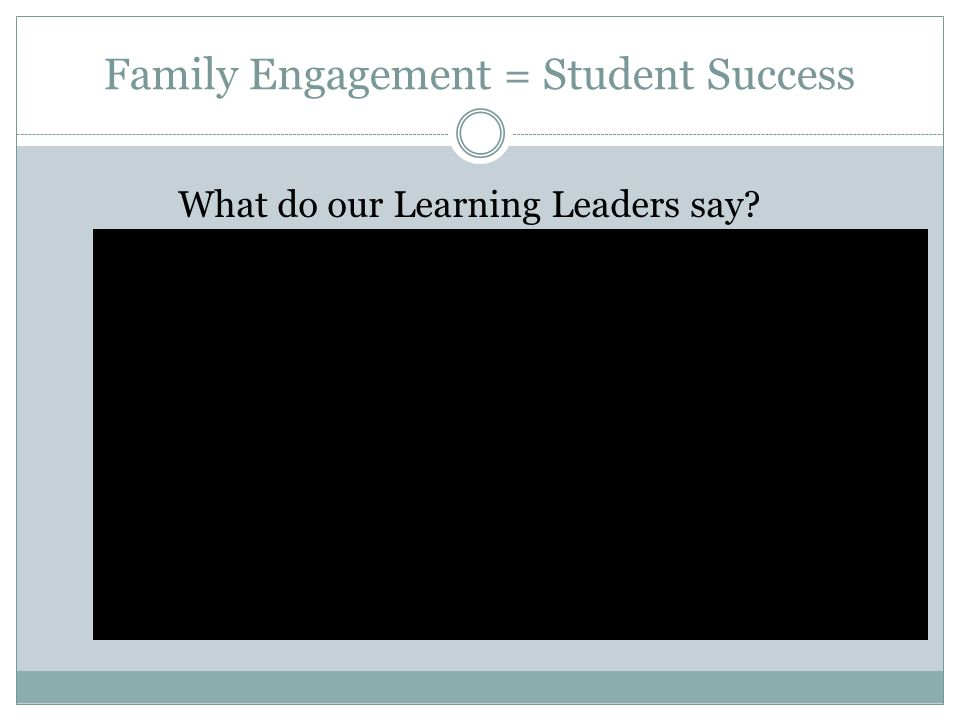 Family Engagement = Student Success What do our Learning Leaders say?